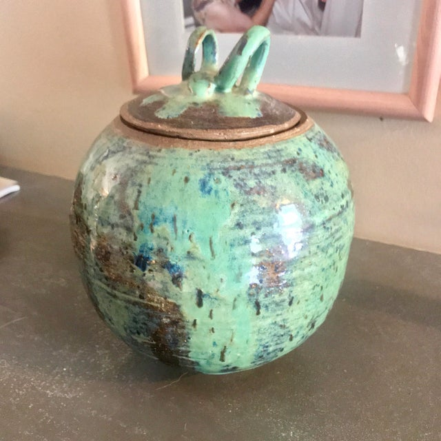 1960s Arts and Crafts Curly Handle and Mottled Glaze Iridescent Clay Pot For Sale - Image 13 of 13