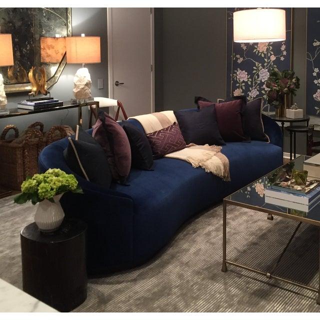 Art Deco Arteriors Home Inspired Curved Navy Blue Sofa | Chairish
