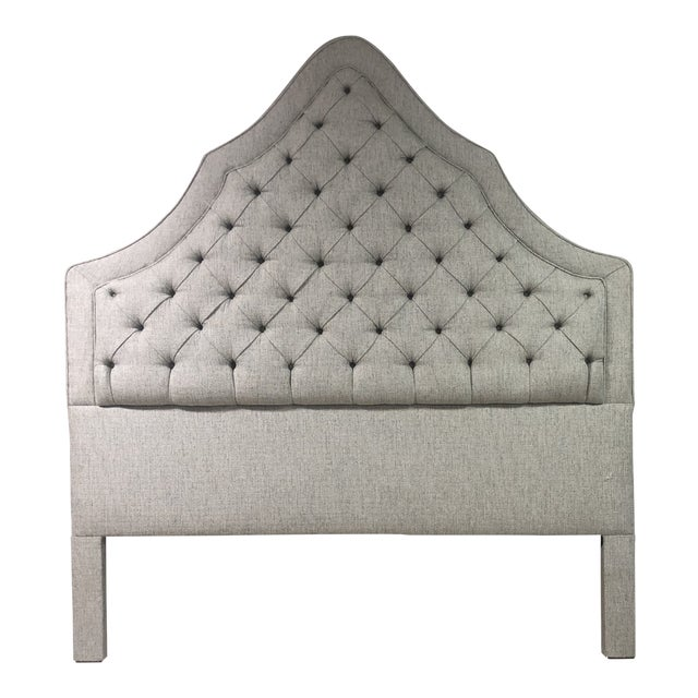 Blue Gray Tufted Headboard For Sale