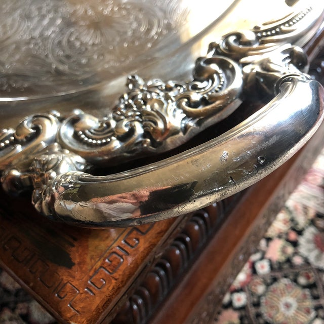 Reed & Barton El Greco Large Silverplated Handled Serving Waiter Tray For Sale - Image 10 of 13