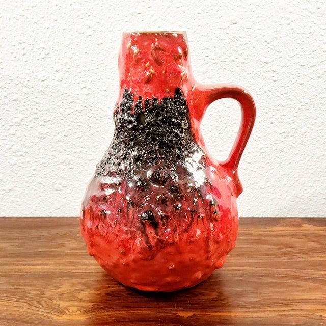 "1960s Kreutz Keramik Red/Black Fat-Lava Jug Vase 201 (9.3"") For Sale - Image 12 of 12"