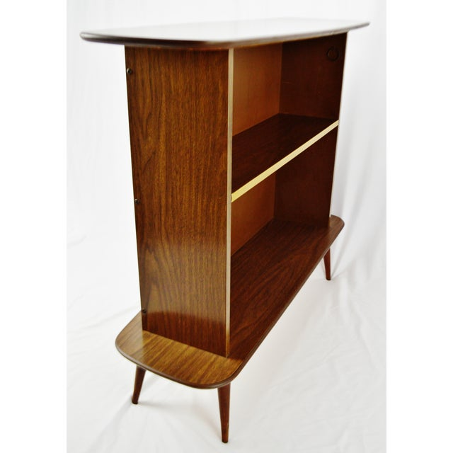 Mother-of-Pearl Mid Century Modern Walnut Formica & Faux Mother of Pearl Dry Bar For Sale - Image 7 of 13