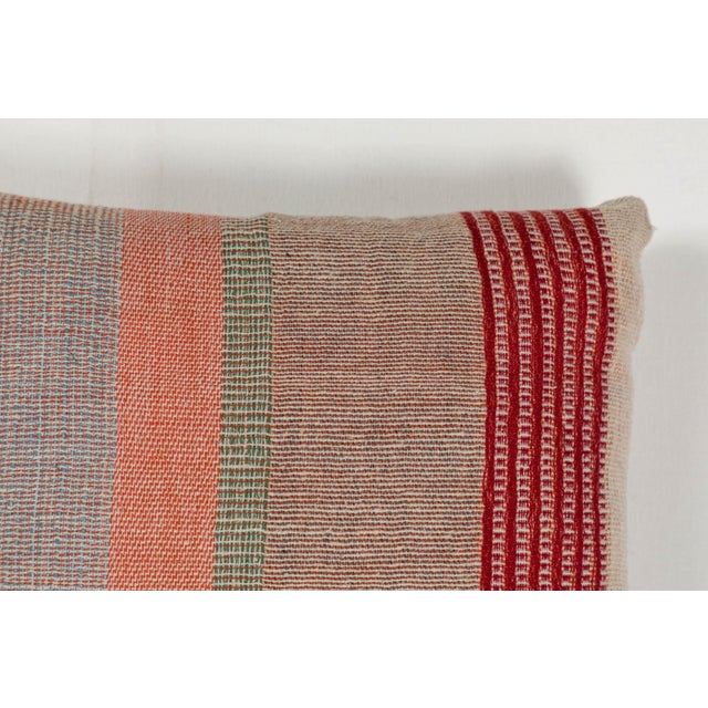 Boho Chic Indian Handwoven Pillow in Pastel Stripes Design For Sale - Image 3 of 6