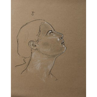 """Sarah Myers """"Looking Up"""" Charcoal Drawing For Sale"""