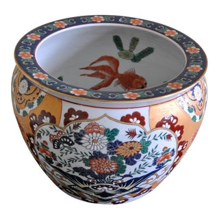 Imari Japanese Hand-Painted Ceramic Fishbowl