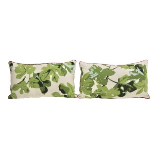 Custom Peter Dunham Fig Leaf Lumbar Pillows, Pair
