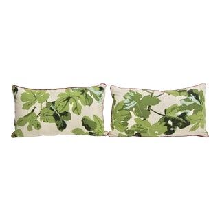 Custom Peter Dunham Fig Leaf Lumbar Pillows, Pair