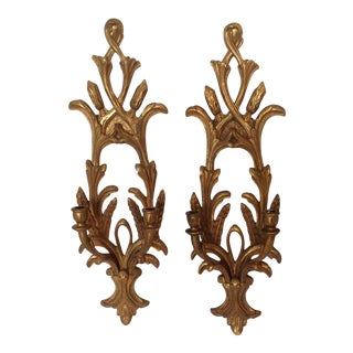 Carved Wood Italian Sconces - a Pair For Sale