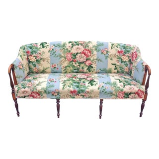Antique English 19th C Edwardian Carved Mahogany Upholstered Settee Loveseat
