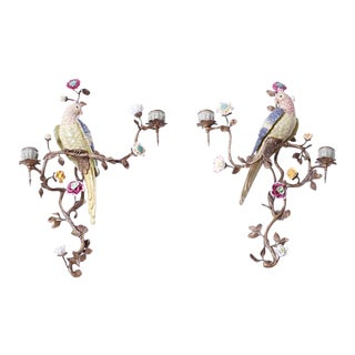 Italian Porcelain and Brass Bird Wall Sconces - a Pair For Sale