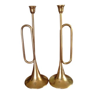 Vintage Tall Brass Bugle Candleholders - a Pair For Sale