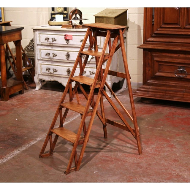19th Century French Napoleon III Carved Walnut Folding Library Five-Step Ladder For Sale - Image 10 of 10