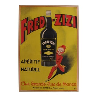 1932 Vintage French Art Deco Alcohol Poster, Fred-Zizi