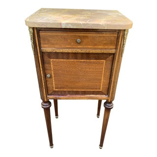 French Country Marble Top Porcelain Lined Nightstand For Sale