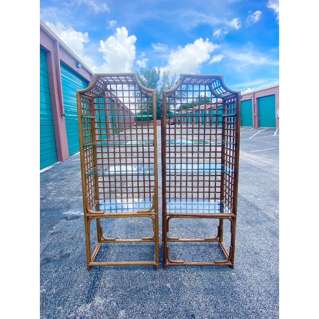 Late 20th Century Vintage Hollywood Regency Bamboo Pagoda Etagere - a Pair For Sale - Image 5 of 8