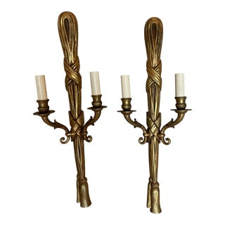 Mid 20th Century Neo-Classical Bronze Sconces - Pair For Sale