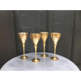 Art Deco Brass Calla Lily Goblets - Set of 4 Preview