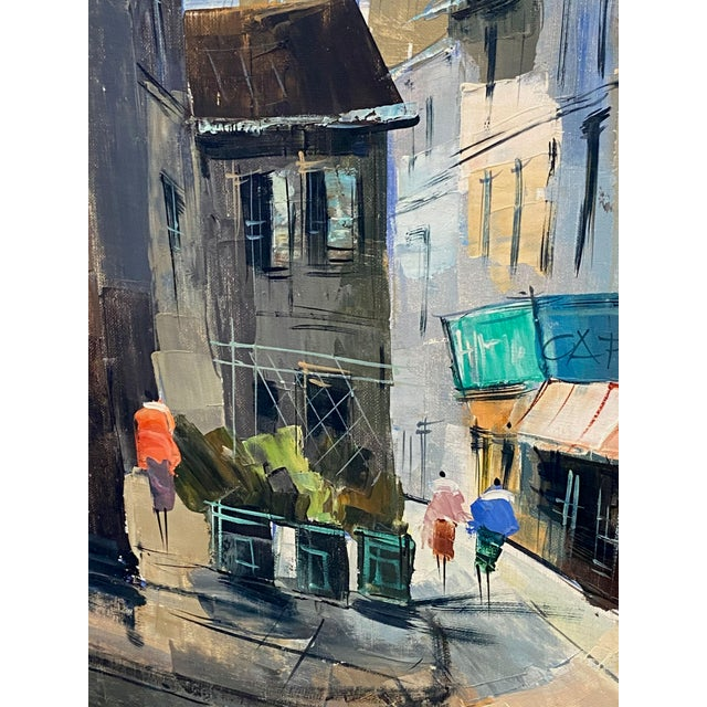 French French Impressionist Street Scene Oil Painting For Sale - Image 3 of 7