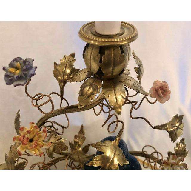Asian Antique Chinoiserie Porcelain Buddha Lamp With Saxe Flowers, Circa 1890. For Sale - Image 3 of 4
