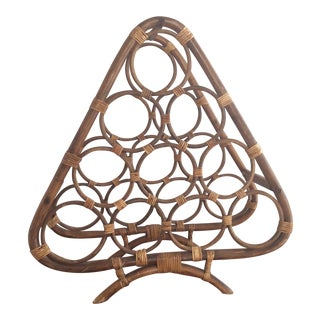 Vintage Boho Rattan Wine Rack For Sale