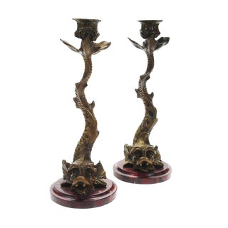 "Antique Bronze Dolphin 10"" Candle Sticks - a Pair For Sale"