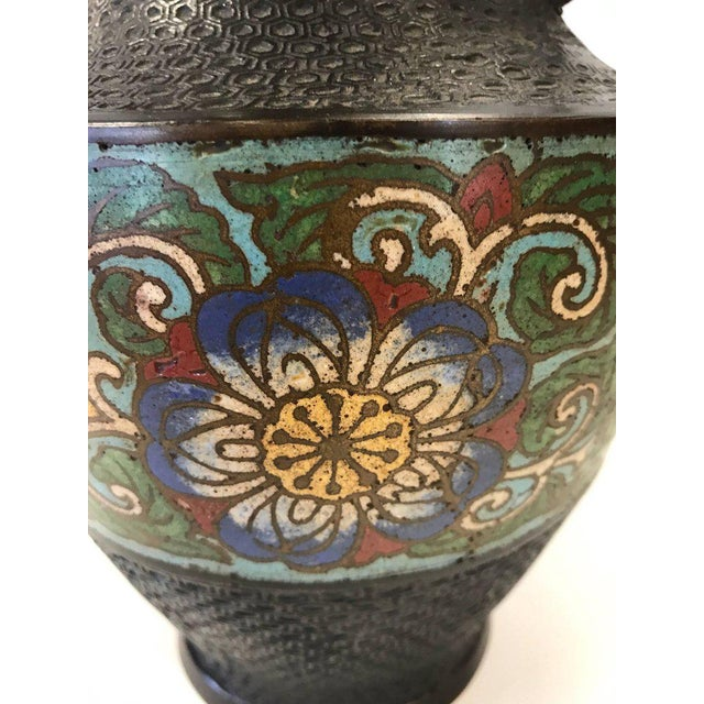 World Class Turn Of 20th Century Japanese Champlev Bronze Enamel