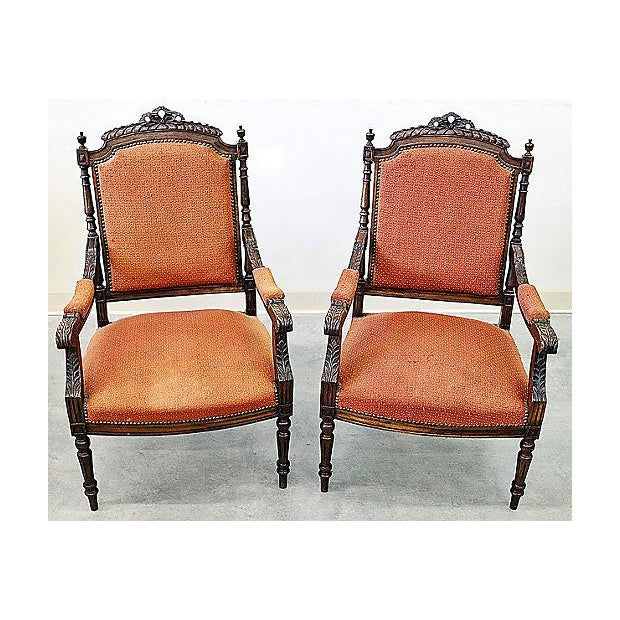French Louis XVI Style Carved Fauteuil Armchairs- A Pair - Image 2 of 9