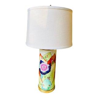 1980s Porcelain Tobacco Leaf Table Lamp For Sale