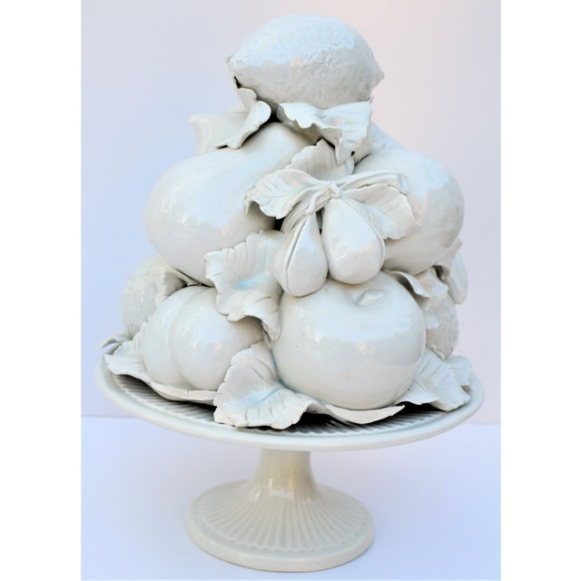 Boho Chic 1970s Vintage Italian Blanc De Chine Majolica White Topiary For Sale - Image 3 of 7