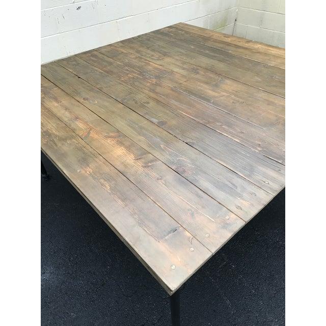 Rustic Dove Gray Wood Square Farm Table For Sale In Atlanta - Image 6 of 11