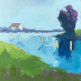 """Image of Carrie Megan """"Marina #2"""" Abstract Landscape Oil Painting For Sale"""
