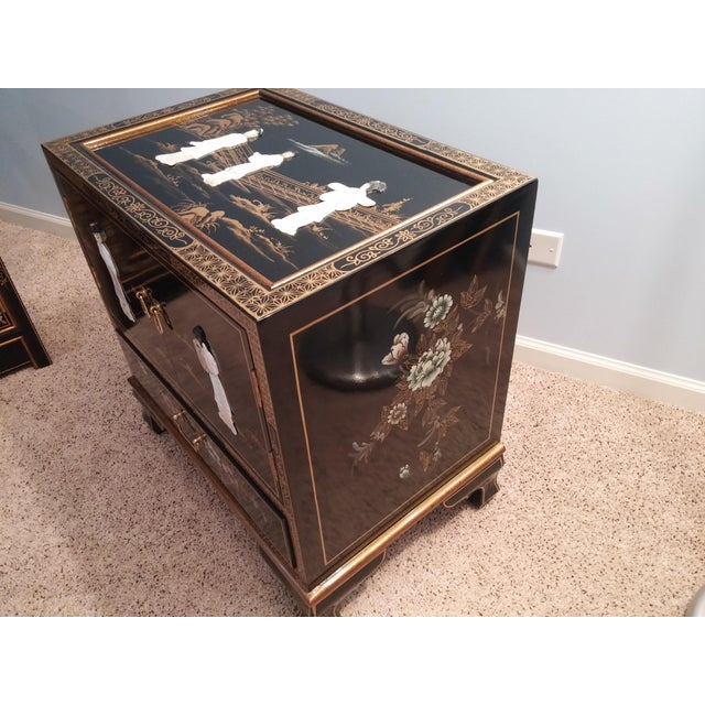 Asian Asian Black Lacquered Chest For Sale - Image 3 of 7