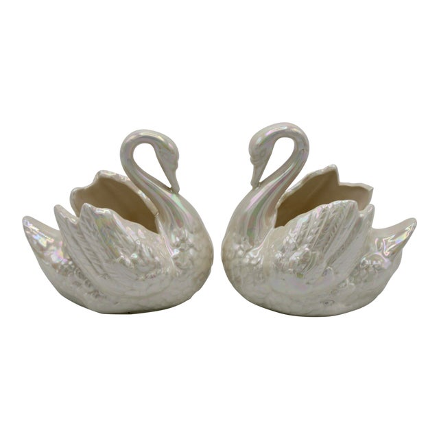 Pair of Small Cream Lusterware Swan Cachepot Planters For Sale