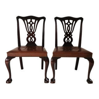 Antique Chippendale Style Leather Seat Mahogany Side Chairs (2) Pair For Sale