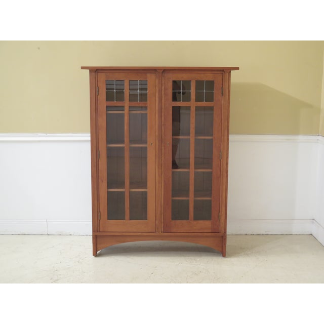 Stickley Mission Cherry Leaded Glass 2 Door Bookcase For Sale - Image 13 of 13