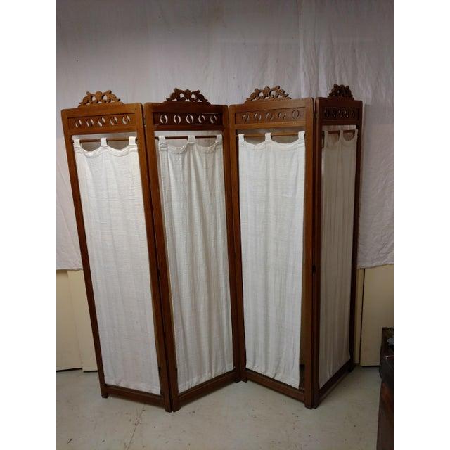 Vintage Carved Wood Room Screen Linen Panels For Sale - Image 9 of 12