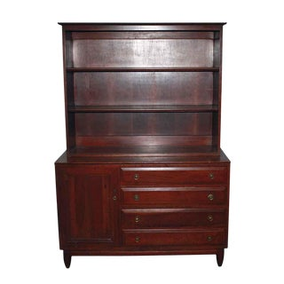 Early 20th C. Cherry Wood Dresser With Cabinet & Shelf