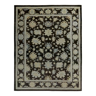 Turkish Oushak Rug with Blue & Beige Floral Details on Dark Brown Field For Sale