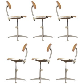 Set of Six Dutch Architect Adjustable Revolving De Cirkel Chairs by Friso Kramer For Sale