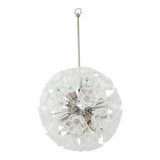 1960s Italian Floral Glass Sputnik Chandelier For Sale