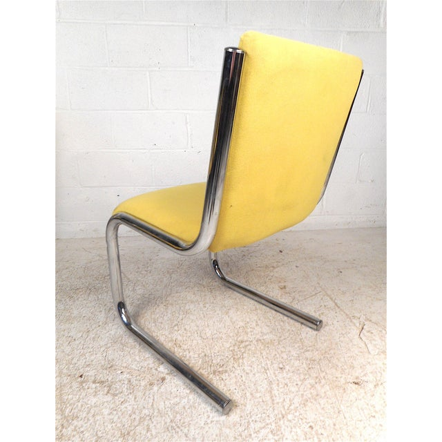 Midcentury Chrome Cantilevered Chairs, Set of 4 For Sale In New York - Image 6 of 13