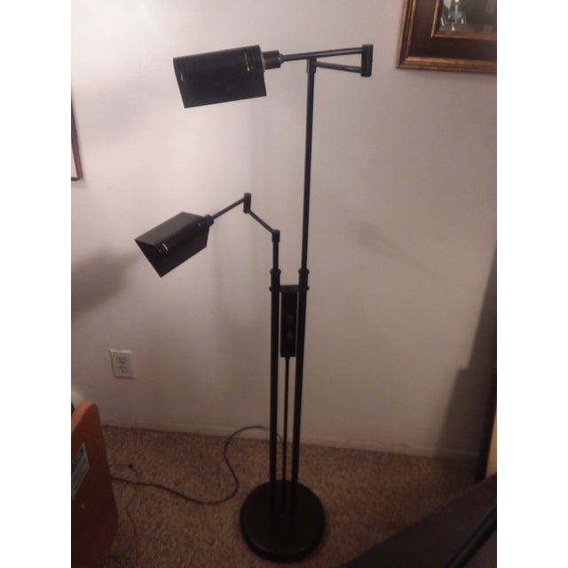 Black 1980's Mid-Century Modern LIte Source Two Arm Floor Lamp For Sale - Image 8 of 9