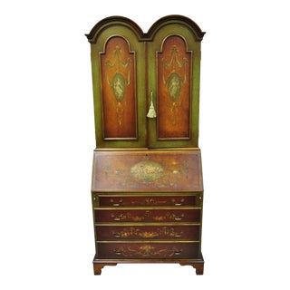 20th Century English Adams Style Hand Painted Double Bonnet Top Secretary Desk For Sale