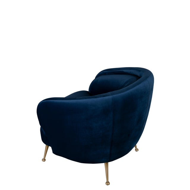 Contemporary Palermo Accent Chair in Blue For Sale - Image 3 of 4