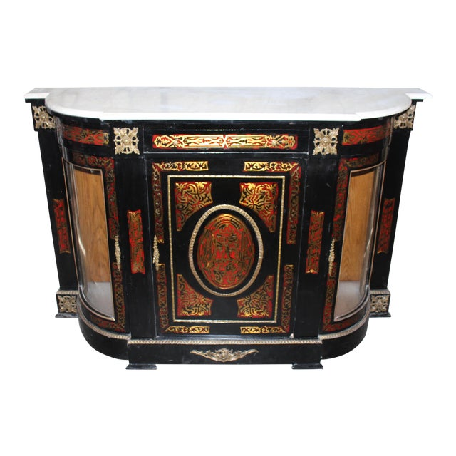 20th Century Louis XVI Boulle Glass Door Cabinet With Marble Top For Sale