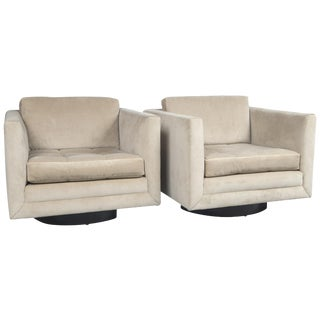 Harvey Probber Swivel Cube Chairs - a Pair