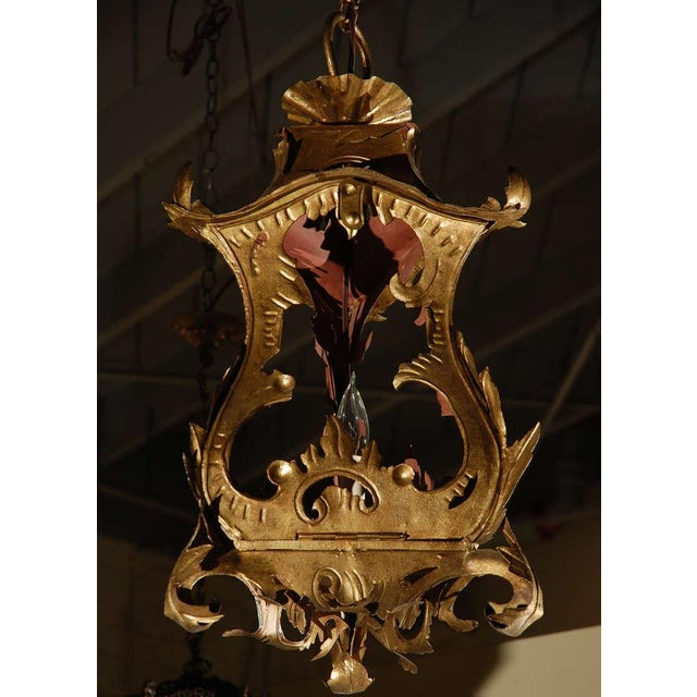 Metal Venetian Style Tole Lantern Larger Pendant For Sale - Image 7 of 7