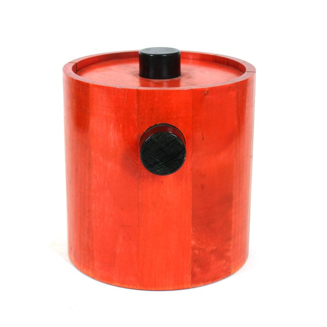 Mid-Century Modern Mid-Century Modern Ice Bucket in Red & Black Wood For Sale - Image 3 of 8