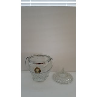 1950s Mid Century Modern Wexford Glass Diamond Cut Crystal & Chrome Ice Bucket With Lid - a Pair Preview