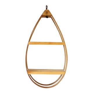 Mid Century Bent Wood 2 Tier Hanging Planter Teardrop Plant Hanger Shelf Danish Modern Bohemian For Sale